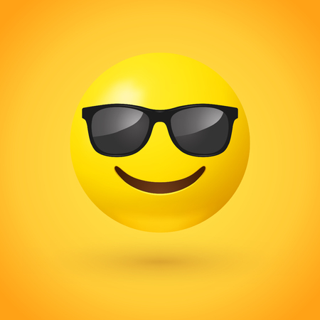 Smiling face with sunglasses emoji - emoticon with smiling face wearing dark sunglasses that is used to denote a sense of cool