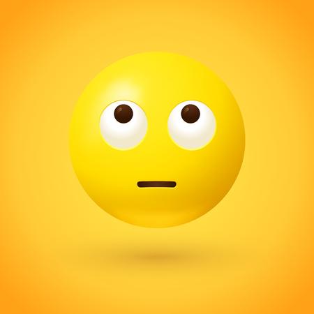 Emoji face with rolling eyes - emoticon on yellow background Illustration