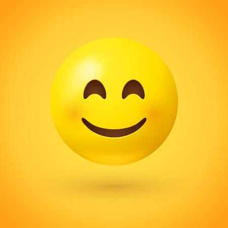 Un emoji de cara sonriente con ojos sonrientes y mejillas rosadas sobre fondo amarillo, con un emoticono que muestra un verdadero sentido de la felicidad. Ilustración de vector