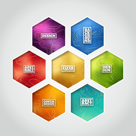 Hexagon label set  Colorful designs with gold marble imitating lines