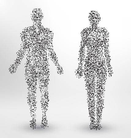 Abstract Molecule based human figures concept Stock Illustratie