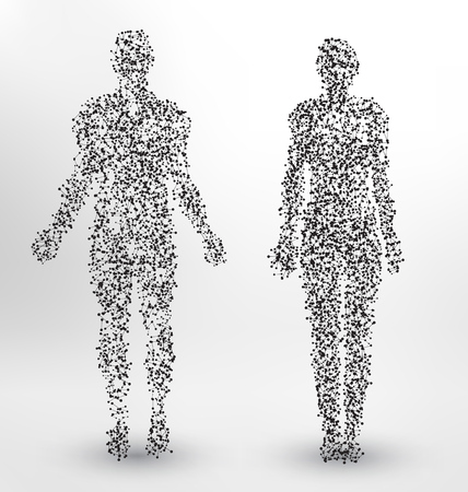 Abstract Molecule based human figures concept Иллюстрация