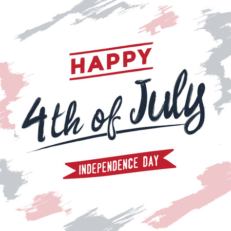4th of July - Independence Day greeting card - typographic design