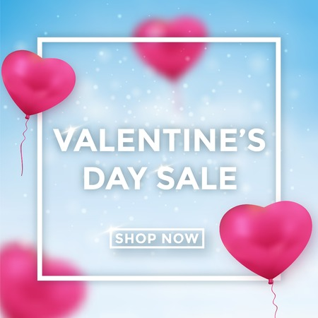 Valentine's day sale design with blue sky background and heart balloons