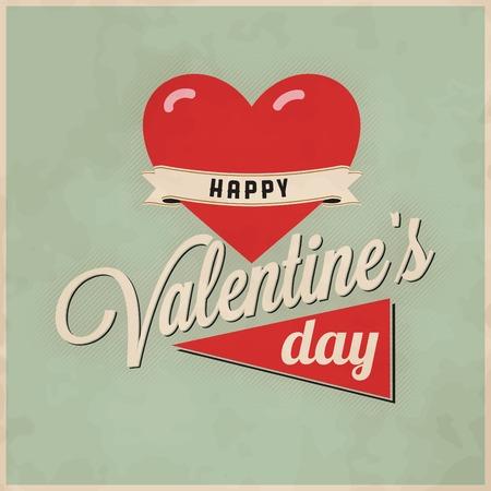 Vintage valentine's day greeting design Ilustracja