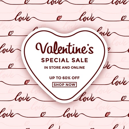 Valentines day sale design with heart shaped frame Ilustracja