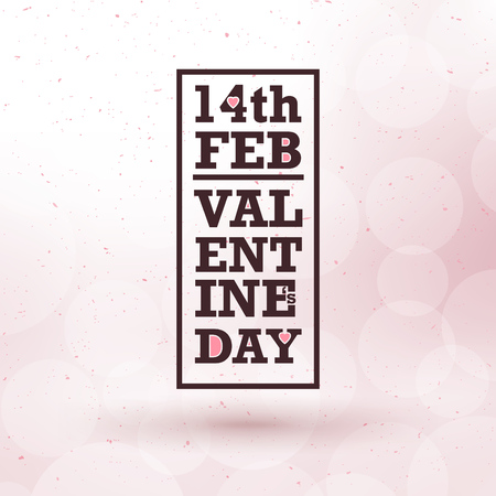 Typographic valentines day design with frame and pink bokeh background Ilustracja