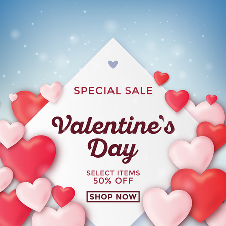 Valentines day sale design with hearts
