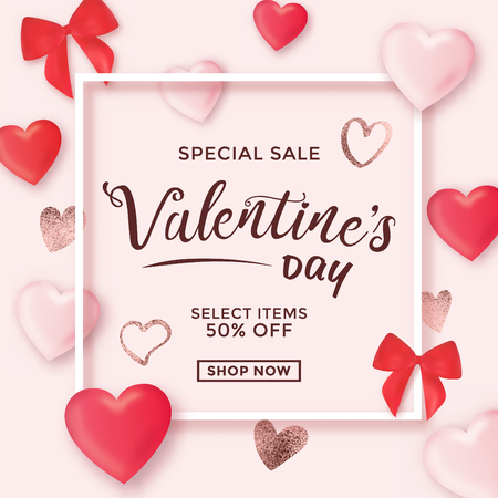 Valentines day sale design with frame and typography