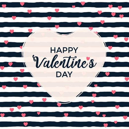 Valentines day greeting design with striped background and heart shaped typographic design