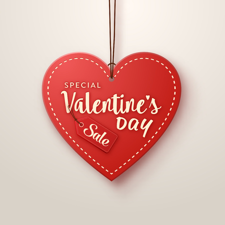 Valentines Day heart shaped sales tag design with typography isolated on white