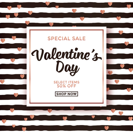 Valentines day sale design with striped background and typographic design on white square background and gold elements
