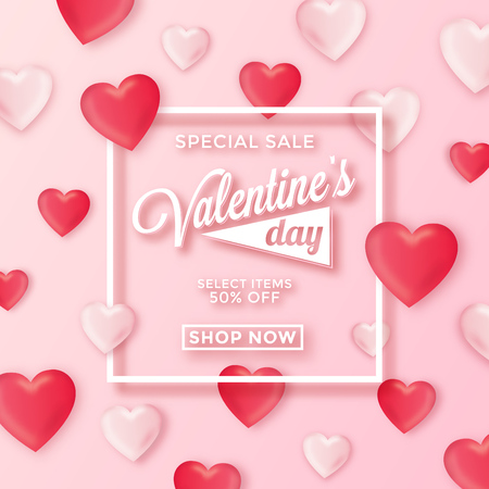 Valentines day special sale background - poster template for february 14th - Pink abstract background with white frame and heart ornaments