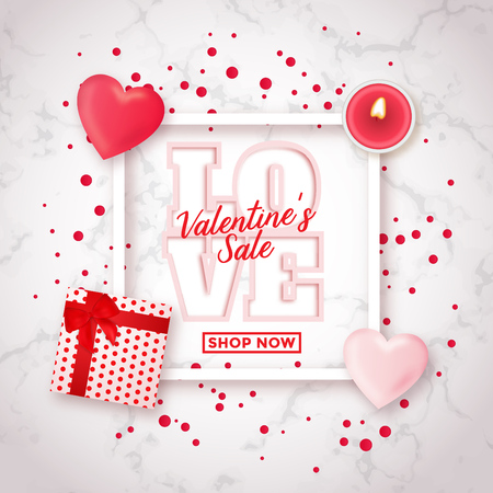 Valentines day sale design with realistic gift box candle and heart shapes