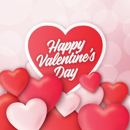 Valentines day greeting design with realistic 3D colorful Red and white romantic hearts background