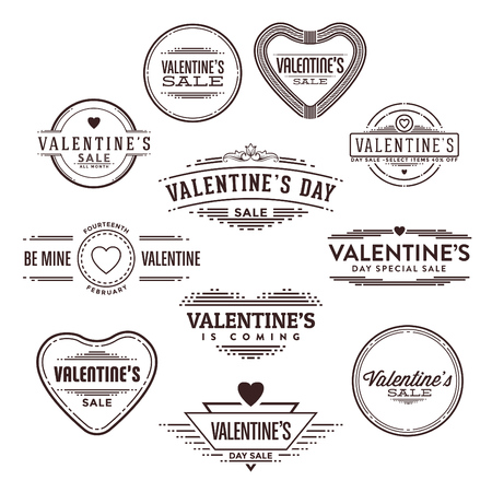 Set of Typographic Valentine's Day Label Designs