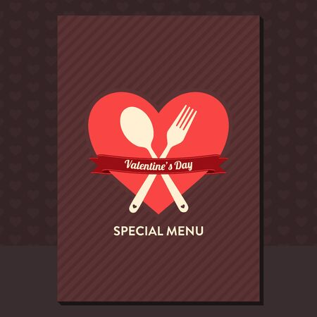 Valentines day special menu design with heart shape, spoon, fork and ribbon - vintage style flat design
