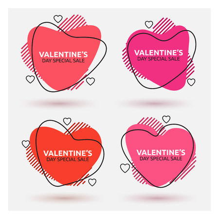 Abstract heart shaped sale banner design set for valentines day