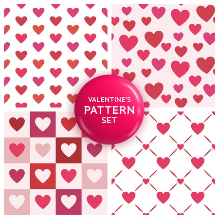 Seamless heart pattern set - collection of cute patterns for valentines day or girly designs