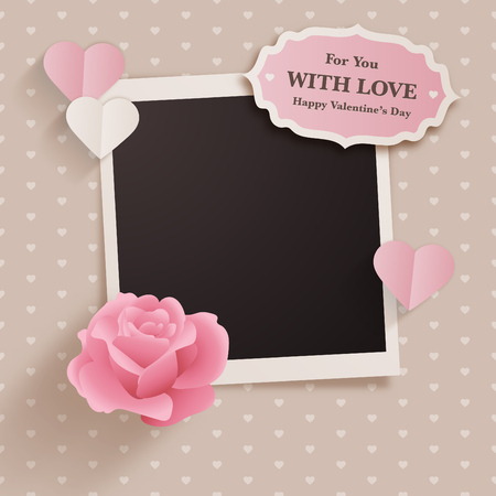 Scrapbook style valentines day design with photo template and cute romantic elements