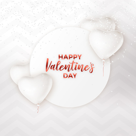 High key white valentines day card design with heart balloons and confetti Ilustracja