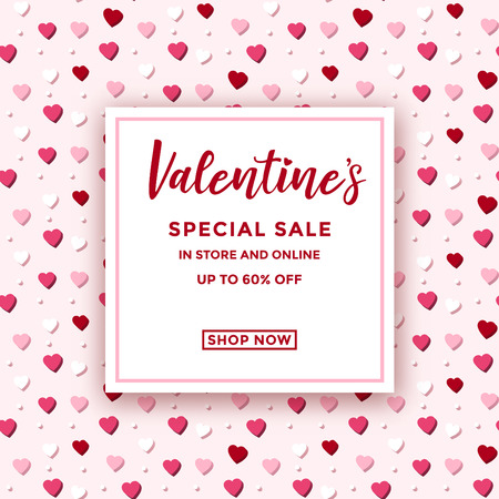 Valentines day sale ad design with colorful pastel heart pattern in the background - seamless pattern