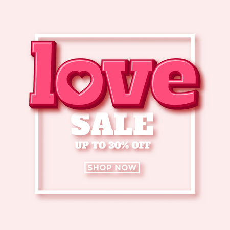 Valentines day sale ad design with nice 3d typography Ilustracja