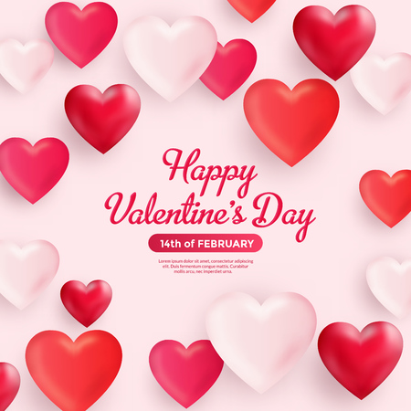 Valentines day greeting with red and pink hearts background Ilustracja