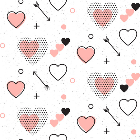 Memphis style cute seamless pattern design for Valentines day