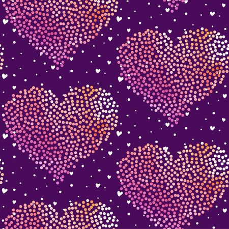 Seamless heart pattern with dots