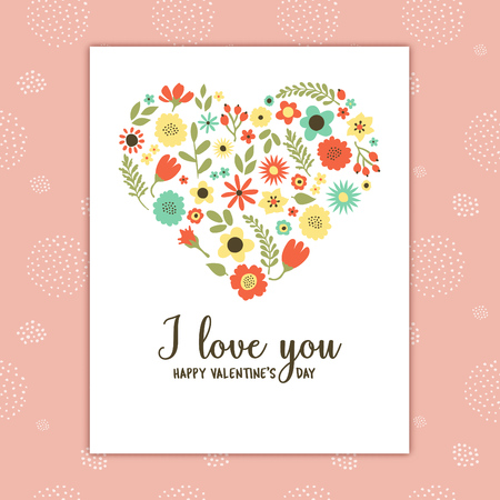 Valentines day card with heart shaped floral elements