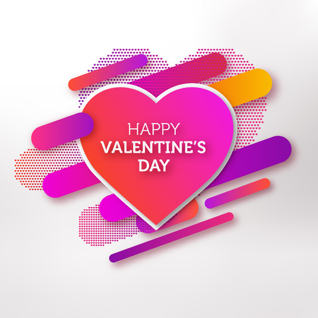 Modern valentines day greeting card design with colorful gradient shapes