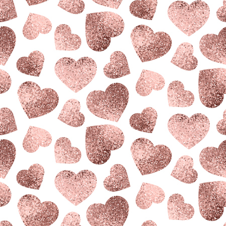 Rose gold hearts seamless pattern design for valentines day or wrapping paper