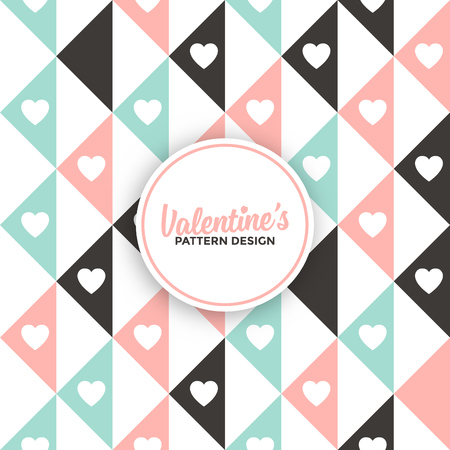 Geometric pattern background design with hearts for valentines day