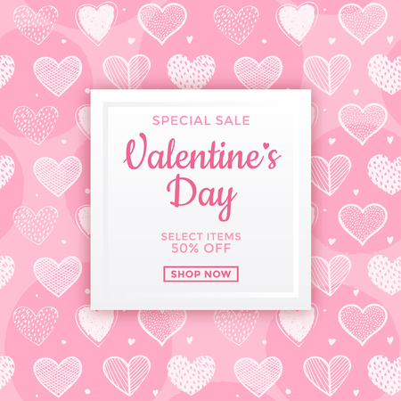 Valentines day sale ad design with pink and white seamless heart pattern design in the background