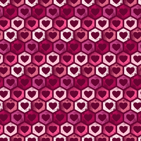 Seamless hexagon shaped pattern with hearts and halftone grunge texture - valentines day pattern design background