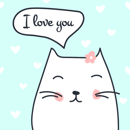 Cute cat in love illustration with speech bubble and text: I love you ideal for valentines card