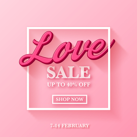 Valentines day sale ad design with nice 3d typography on pink background