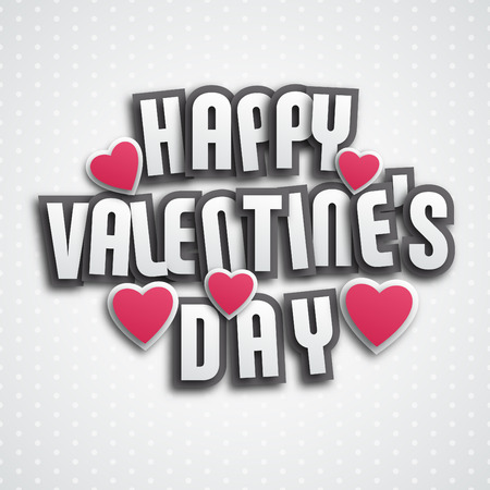 Valentines day greeting card design - paper style lettering with shadows and hearts