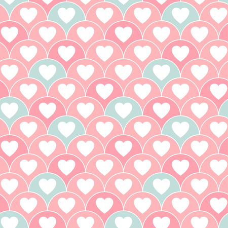 Cute hearts seamless pattern - lovely repeat pattern design - fish skin style adorable endless background Ilustracja