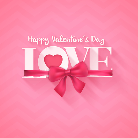 Typographic valentines day greeting card design - serif text: LOVE with realistic bow and ribbon