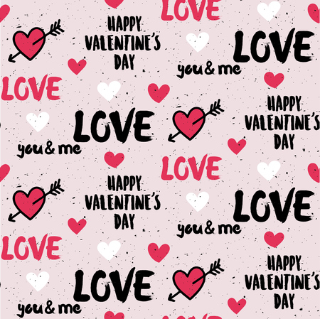 Grunge handmade style valentines day seamless pattern design with hearts and typography