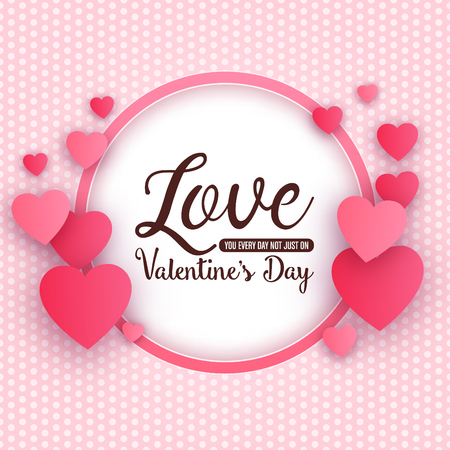 Typographic valentines day design with circular frame and hearts