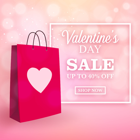 Valentines day sale design with shopping bag