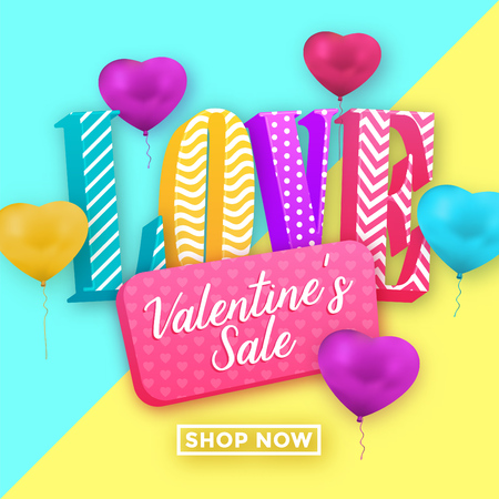 Valentines day sale template with 3d serif typography in bright colors and heart balloons - memphis style design Ilustracja