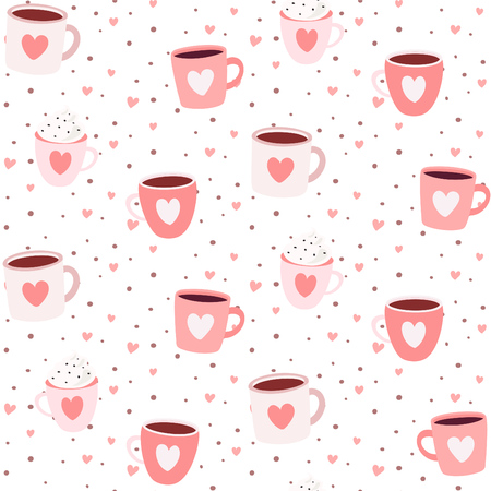 Cute romantic seamless pattern with mugs hearts and dots - lovely handmade style pattern design