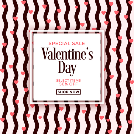 Valentines day sale design template with seamless pattern background Ilustracja