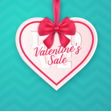 Valentines Day heart shaped sales ad design with ribbon and bow on turquoise chevron background