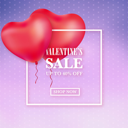 Valentines day sale ad template with red heart balloons on purple background with polka dots Ilustracja