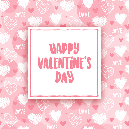 Valentines day greeting design with pink and white seamless heart pattern in the background